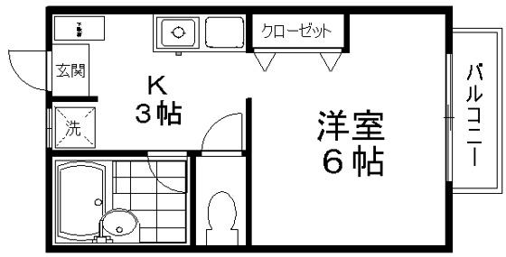 間取り1K 22,29㎡