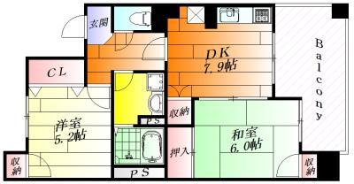 間取り各部屋が広々2DKタイプ。
