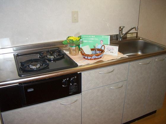キッチン2口コンロとグリルのシステムキッチン