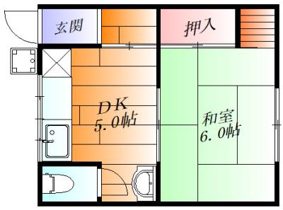 間取り各部屋がゆったりとした1DK。