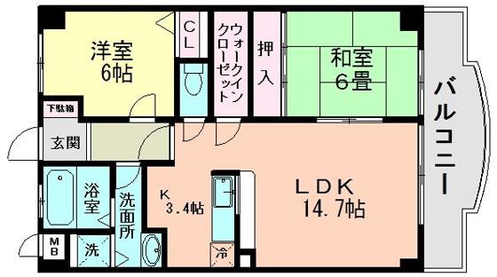間取り広々14.7帖のLDKと和室・洋室