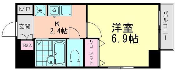 間取り6.9帖の洋室とキッチン