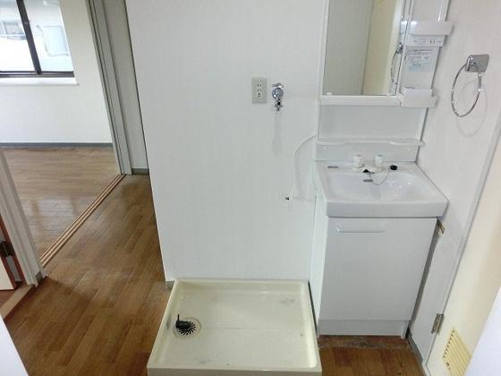 洗面所独立洗面台と洗濯機置き場
