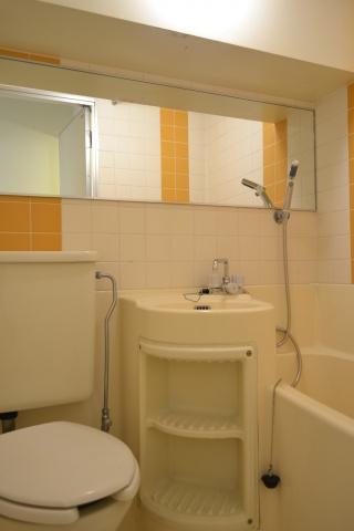 浴室三点ユニットバス ワイドミラー設置