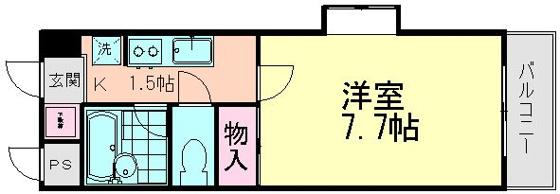 間取り7.7帖の洋室とキッチン 写真は反転タイプです
