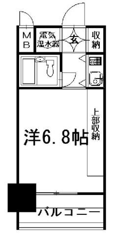 間取り☆洋室6.8帖☆1K☆