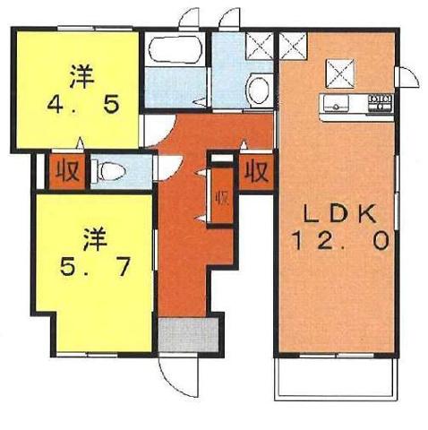 間取り洋室独立の築浅2L!1階角部屋!