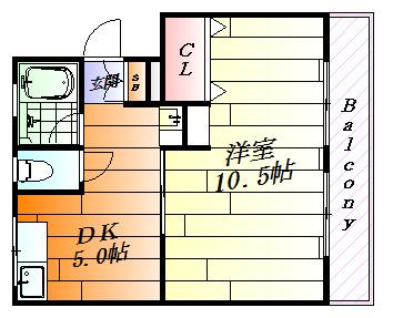 間取り広い洋室が魅力的な1DKです。