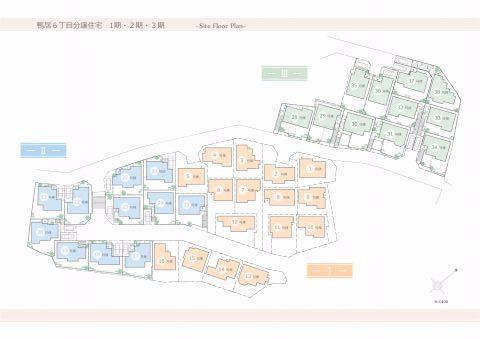 区画図全棟東南向き。考え抜かれた配棟計画で明るい住まいを実現します。