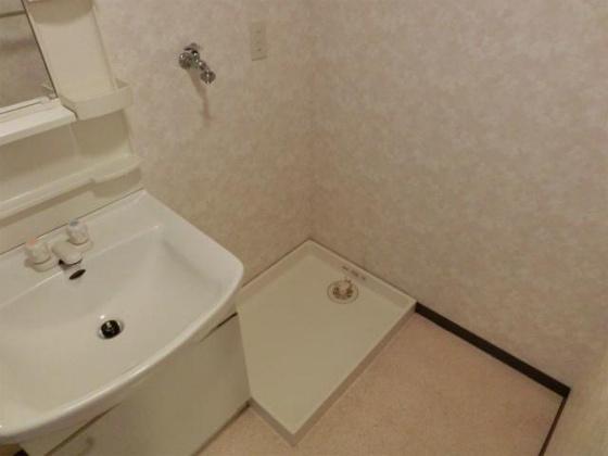 独立洗面台の横にある洗濯機置き場