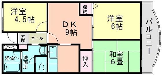 間取り3LDKのファミリータイプ キッチンは独立しています