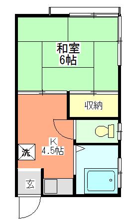 間取りキッチンセット新装です。室内洗濯機置場あり 2方向に窓あり
