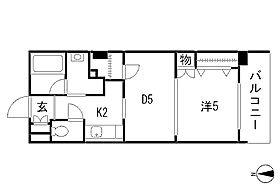 間取りお食事するお部屋と寝室が分けられる1DKタイプの間取りです