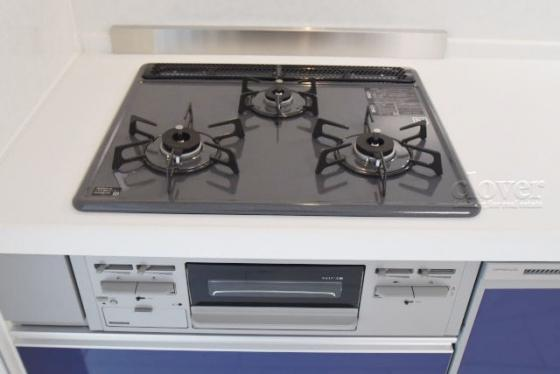 キッチン三口ガスコンロ グリル付