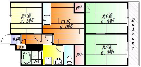 間取り各部屋がゆったりとした3DK