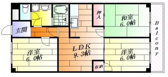 間取り全居室6.0帖のゆったり3LDK。
