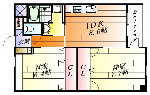 間取り各部屋がゆったりとした2DK。