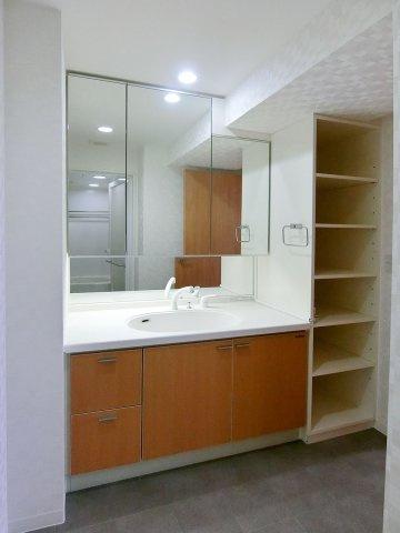 独立洗面台ワイドな鏡を備えた洗面化粧台 収納も充実