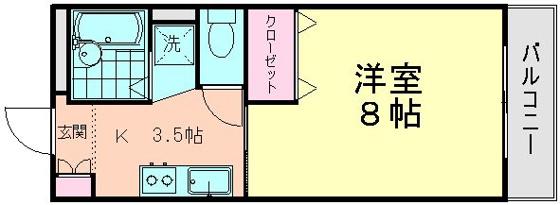 間取り広めの洋室8帖とキッチン
