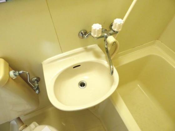 洗面所コンパクトながら洗面台も。