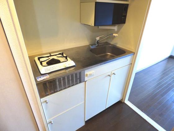 キッチン機能的なミニキッチンです。
