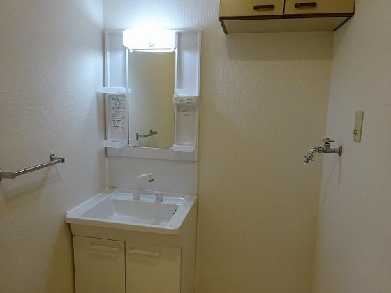 独立洗面台洗髪洗面化粧台とその右側は洗濯機置き場となります