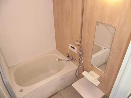 浴室鏡付きの落ち着くバスルーム