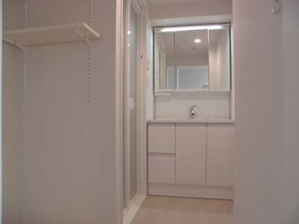 洗面所シャワー付き三面鏡洗面化粧台