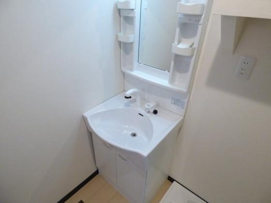 洗面所オシャレなシャワー付洗面台。