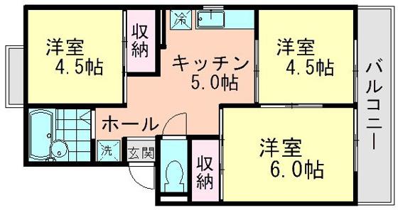 間取り全室洋室の3DKアパートとなります