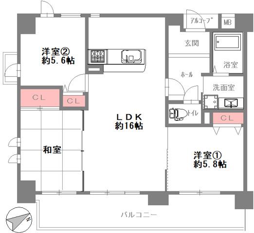 間取り室内新築みたいなフルリフォーム済みです。南東向きのワイドバルコニーで、全居室に窓があり室内大変明るいです。