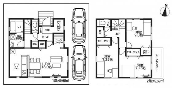 間取りLDKは広々18帖もあり、全居室7帖以上もある3LDKです。全居室に収納タップリなクローゼットがあり、リビングにはワークコーナーと収納があり、1階と2階の廊下にも収納があり、玄関にはSICもあります。