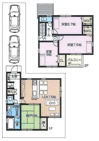 間取り2号地:4,280万円 2階建の4LDK(土地:106.96平米、建延面積:95.58平米)。土地約32.35坪付で、駐車2台可能です。堂々完成済みです。