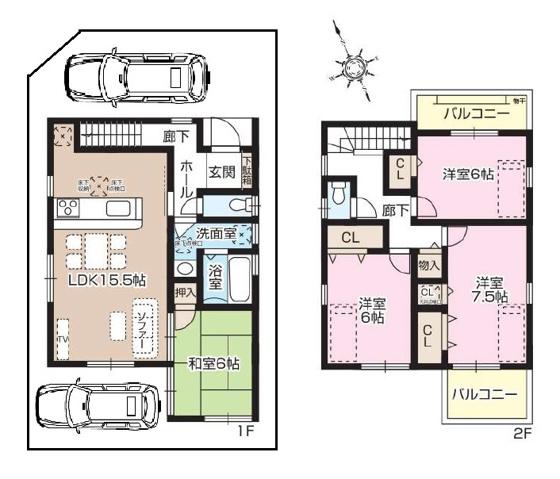 その他1号地の間取図 価格:3,090万円 北西角地(土地:100.21平米(約30.31坪)・建延面積98.00平米)。土地別途持分有:11.90平米。
