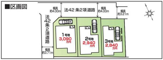 区画図全3区画の新築現場です。