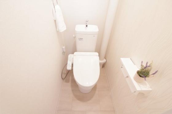 トイレ便器・温水洗浄便座新調しました(CF・クロス張替、Wペーパーホルダー・タオルリング交換、照明器具・小物付き等)