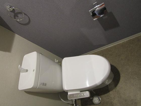 トイレ便器・温水洗浄便座新調しました。収納棚が付いています、トイレットペーパーなどが収納出来ます。(CF・クロス張替、タオルリング・紙巻器新調、スイッチ・コンセント交換等)