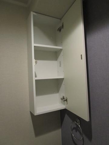 収納トイレに付いている収納です。トイレットペーパーなどが収納出来ます。