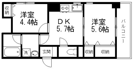 間取りDKと洋室が2部屋