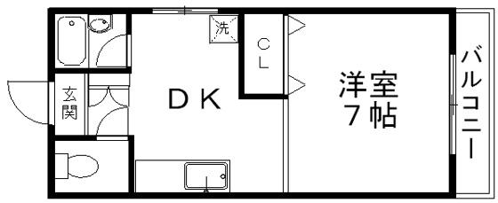 間取り中部屋なのでDK部分に窓はありません