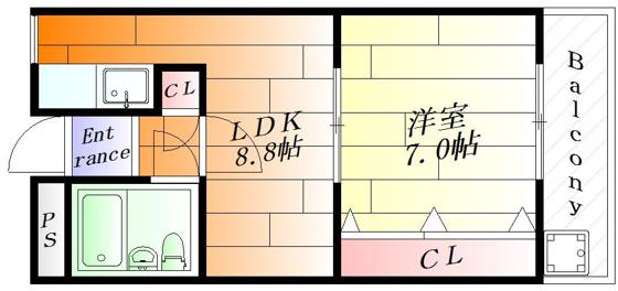 間取り1LDKタイプのお部屋です。