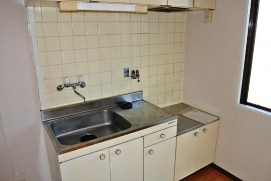 キッチン2口コンロが設置可能なキッチン。